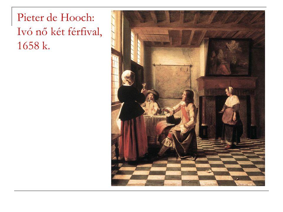 Pieter de Hooch: Ivó nő két férfival, 1658 k.