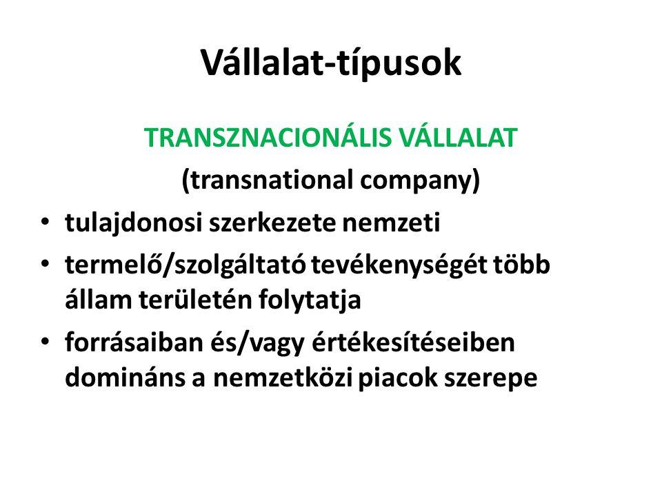 Vállalat-típusok TRANSZNACIONÁLIS VÁLLALAT (transnational company) tulajdonosi szerkezete nemzeti termelő/szolgáltató tevékenységét több állam területén folytatja forrásaiban és/vagy értékesítéseiben domináns a nemzetközi piacok szerepe