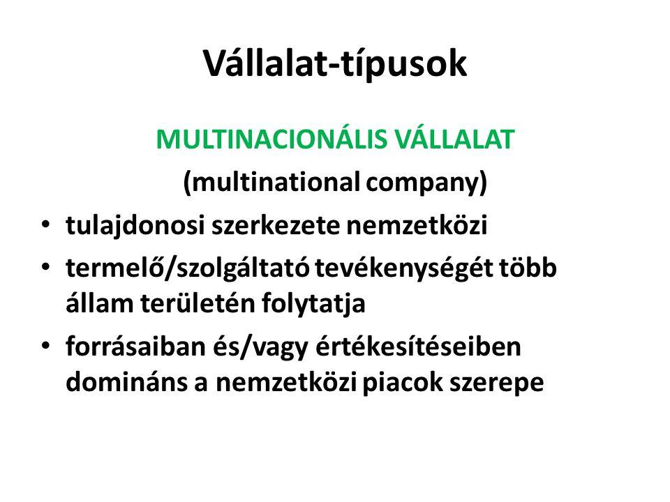 Vállalat-típusok MULTINACIONÁLIS VÁLLALAT (multinational company) tulajdonosi szerkezete nemzetközi termelő/szolgáltató tevékenységét több állam területén folytatja forrásaiban és/vagy értékesítéseiben domináns a nemzetközi piacok szerepe