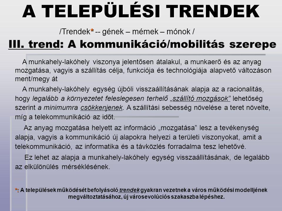 *: *: A települések működését befolyásoló trendek gyakran vezetnek a város működési modelljének megváltoztatásához, új városevolúciós szakaszba lépésh