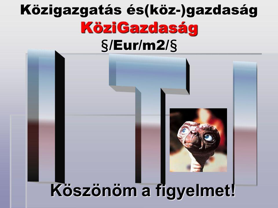 Közigazgatás és(köz-)gazdaság KöziGazdaság §/Eur/m2/§ Köszönöm a figyelmet!