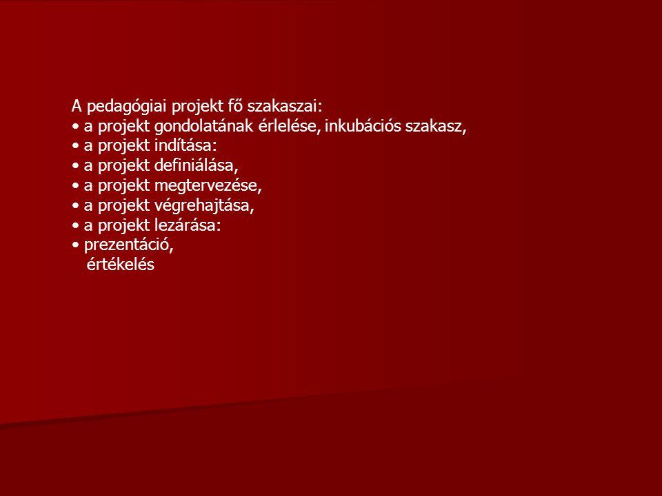 A pedagógiai projekt fő szakaszai: a projekt gondolatának érlelése, inkubációs szakasz, a projekt indítása: a projekt definiálása, a projekt megtervez