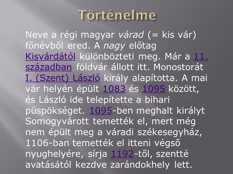 Neve a régi magyar várad (= kis vár) főnévből ered.