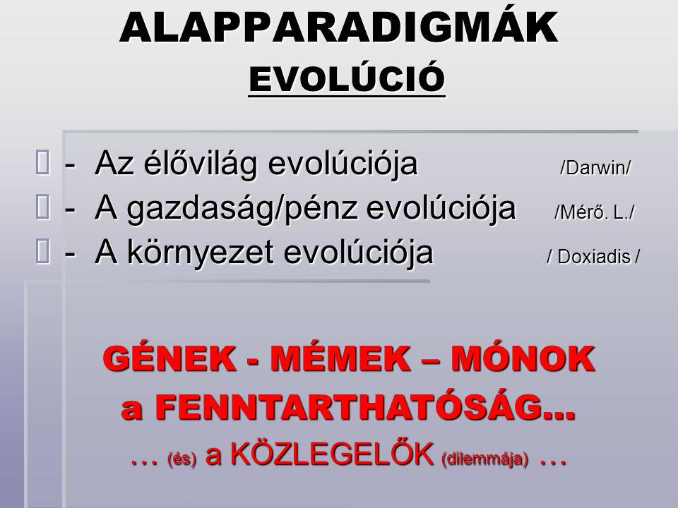 EVOLÚCIÓ - Az élővilág evolúciója /Darwin/ - Az élővilág evolúciója /Darwin/ - A gazdaság/pénz evolúciója /Mérő.