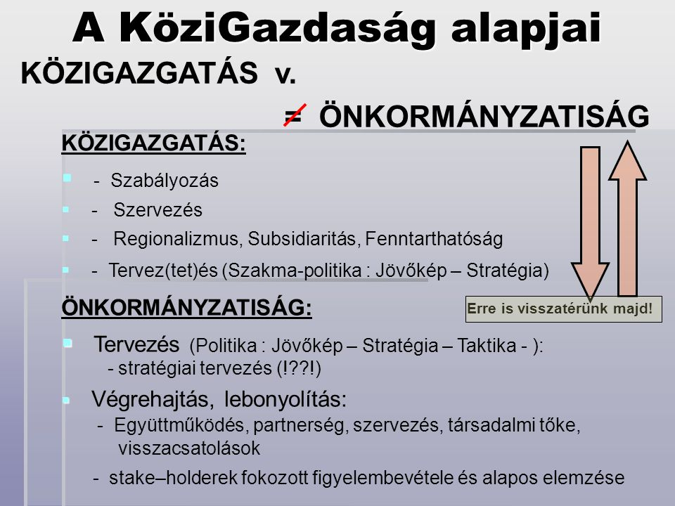 A KöziGazdaság alapjai KÖZIGAZGATÁS v.