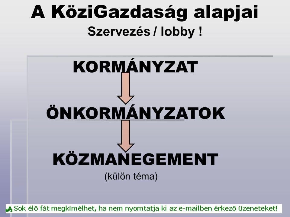A KöziGazdaság alapjai Szervezés / lobby ! KORMÁNYZAT ÖNKORMÁNYZATOK KÖZMANEGEMENT (külön téma)