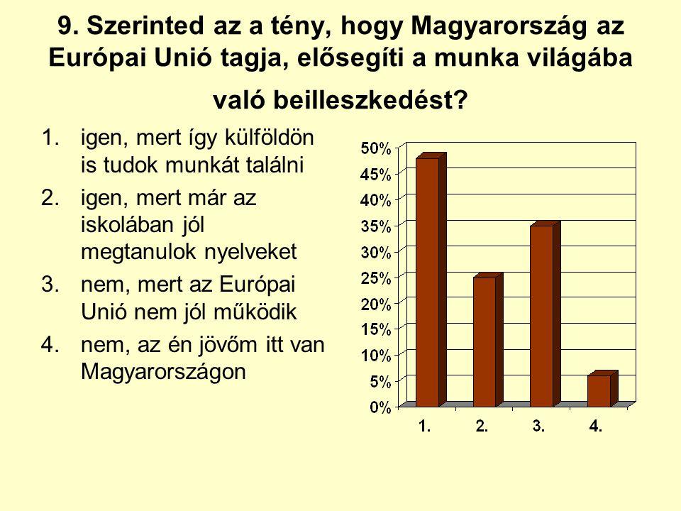 9. Szerinted az a tény, hogy Magyarország az Európai Unió tagja, elősegíti a munka világába való beilleszkedést? 1.igen, mert így külföldön is tudok m