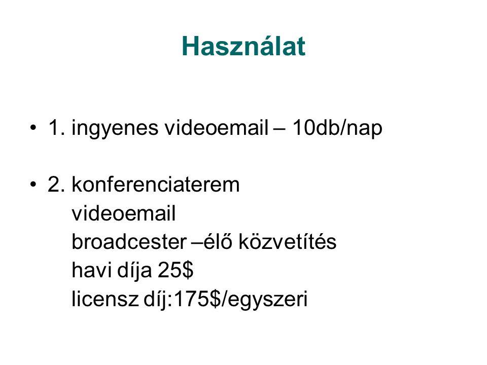 Használat 1. ingyenes videoemail – 10db/nap 2. konferenciaterem videoemail broadcester –élő közvetítés havi díja 25$ licensz díj:175$/egyszeri