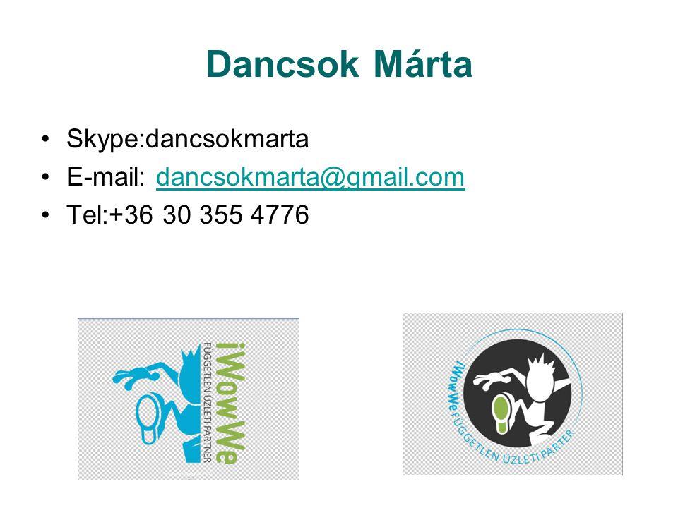 Dancsok Márta Skype:dancsokmarta E-mail: dancsokmarta@gmail.comdancsokmarta@gmail.com Tel:+36 30 355 4776