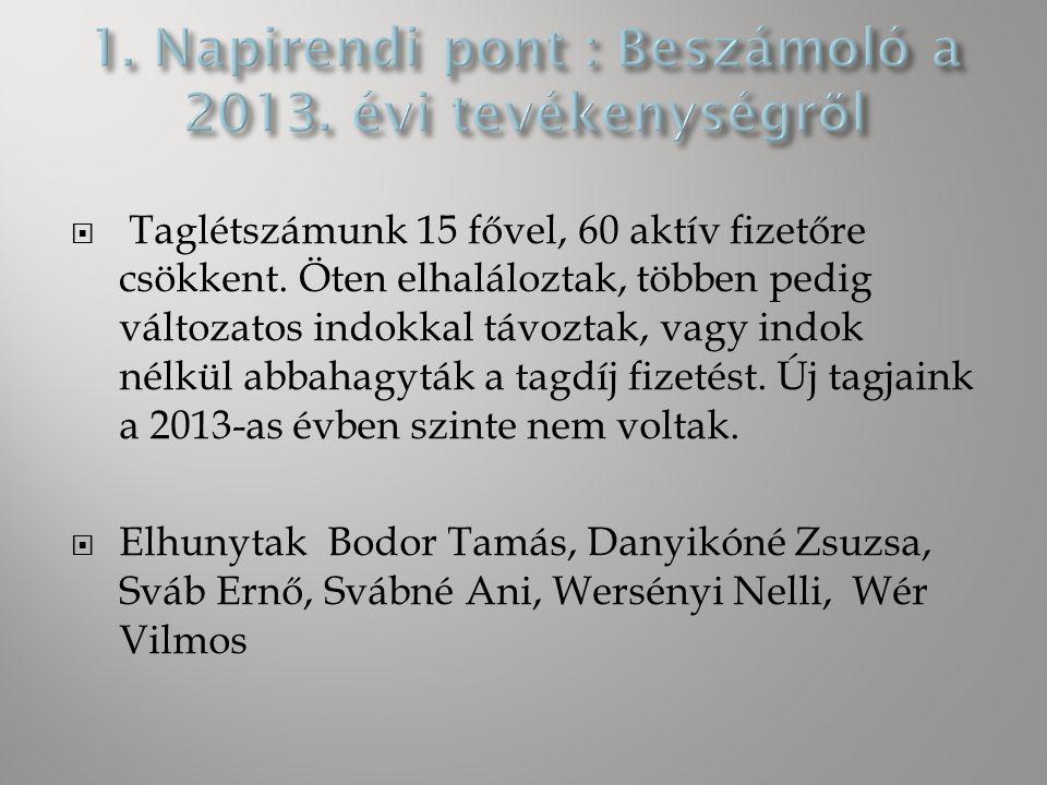 1. Beszámoló a 2013. évi tevékenységről 2. A 2013.