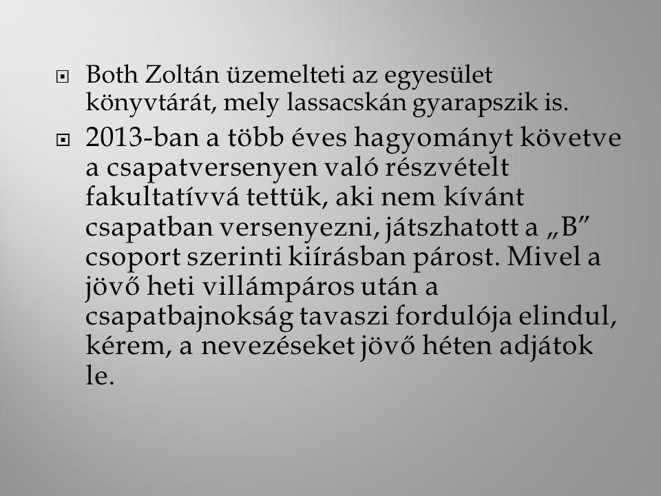  Both Zoltán üzemelteti az egyesület könyvtárát, mely lassacskán gyarapszik is.