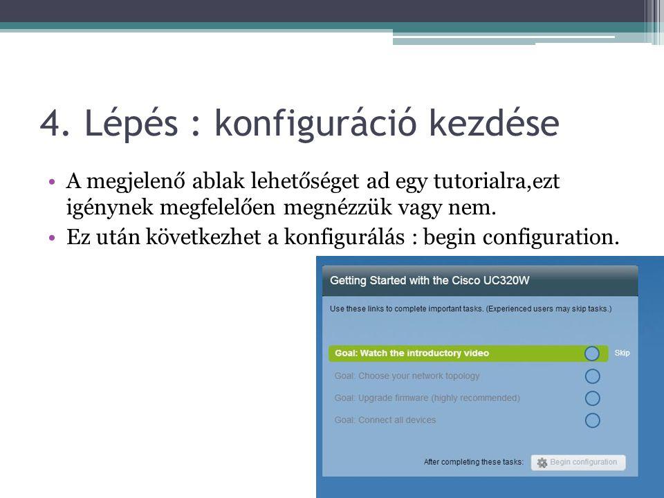 4. Lépés : konfiguráció kezdése A megjelenő ablak lehetőséget ad egy tutorialra,ezt igénynek megfelelően megnézzük vagy nem. Ez után következhet a kon