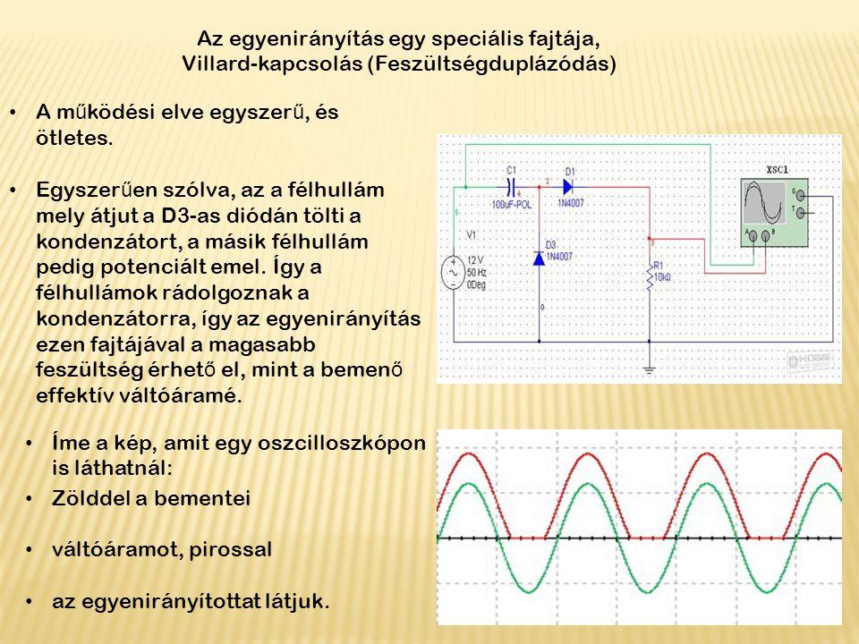 Az egyenirányítás egy speciális fajtája, Villard-kapcsolás (Feszültségduplázódás) A m ű ködési elve egyszer ű, és ötletes. Egyszer ű en szólva, az a f
