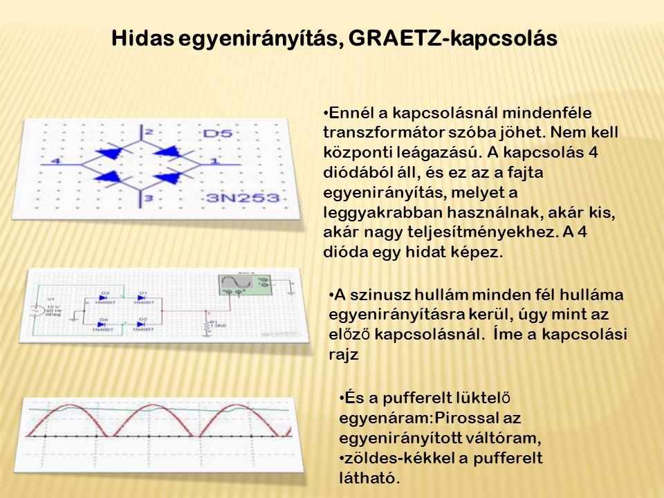 Hidas egyenirányítás, GRAETZ-kapcsolás Ennél a kapcsolásnál mindenféle transzformátor szóba jöhet. Nem kell központi leágazású. A kapcsolás 4 diódából