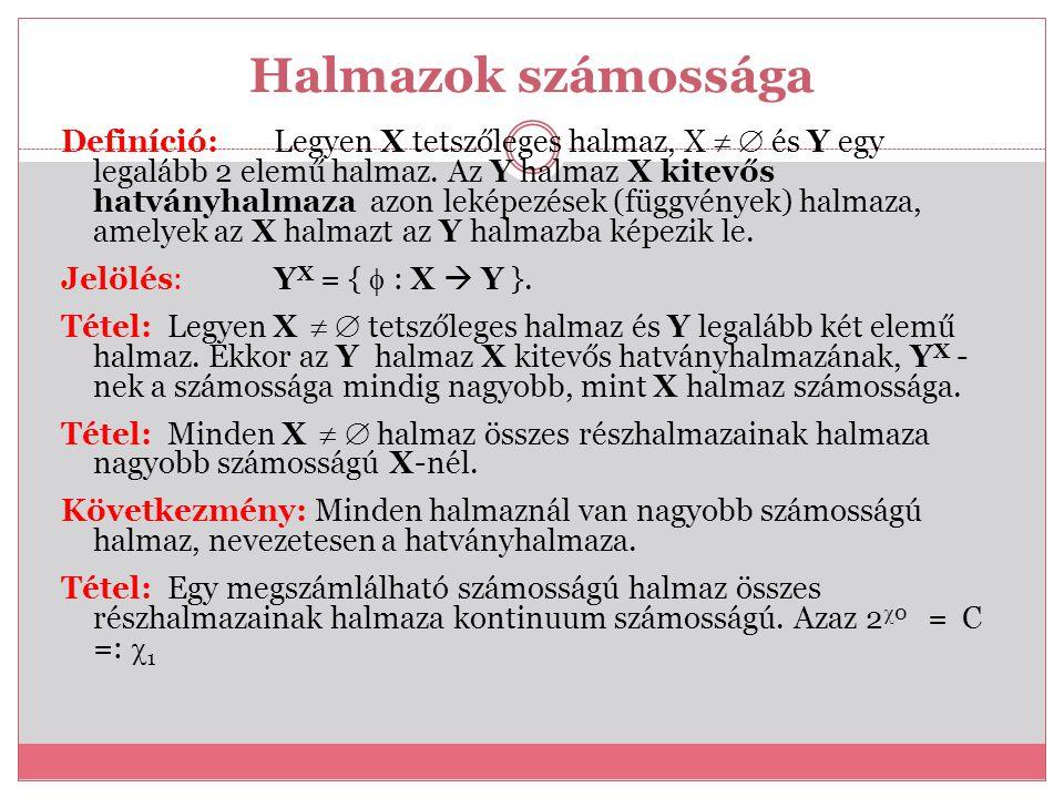 Halmazok számossága Definíció:Legyen X tetszőleges halmaz, X   és Y egy legalább 2 elemű halmaz. Az Y halmaz X kitevős hatványhalmaza azon leképezés