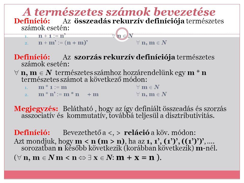 A természetes számok bevezetése Definíció: Az összeadás rekurzív definíciója természetes számok esetén: 1. n + 1 := n'  n  N 2. n + m' := (n + m)' 