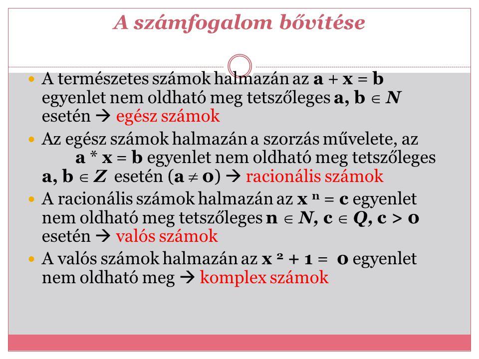 A számfogalom bővítése A természetes számok halmazán az a + x = b egyenlet nem oldható meg tetszőleges a, b  N esetén  egész számok Az egész számok