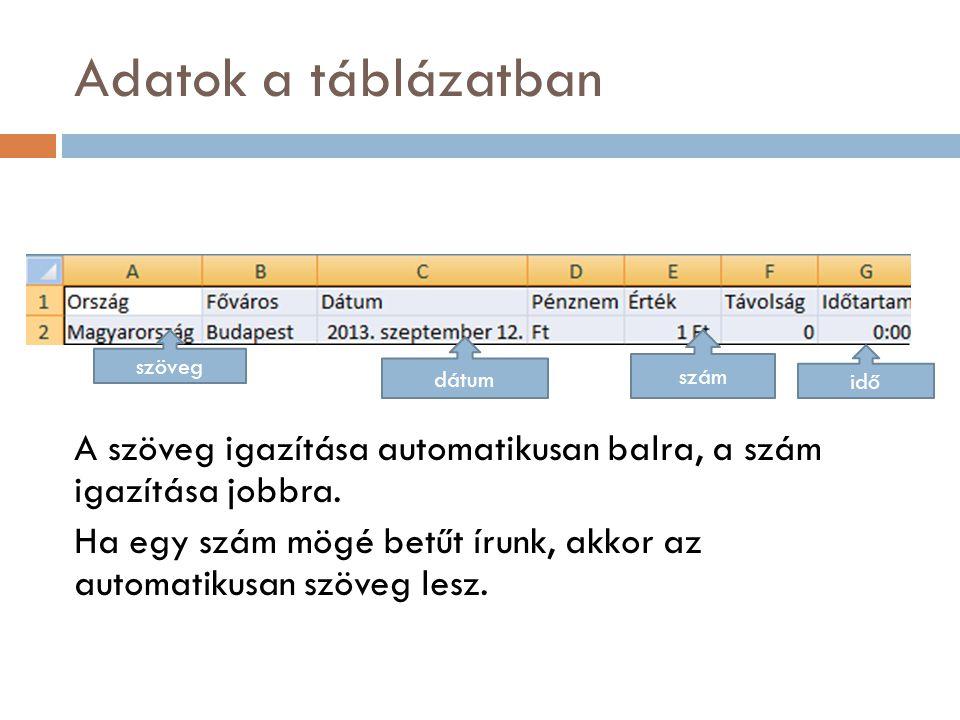 Adatok a táblázatban A szöveg igazítása automatikusan balra, a szám igazítása jobbra.