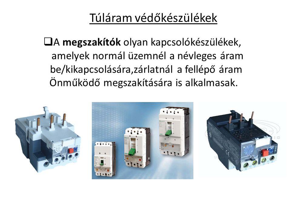 Túláram védőkészülékek  A megszakítók olyan kapcsolókészülékek, amelyek normál üzemnél a névleges áram be/kikapcsolására,zárlatnál a fellépő áram Önm