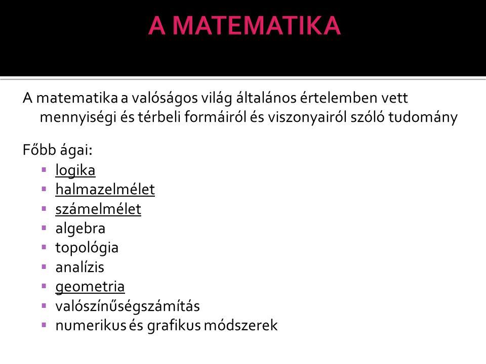 A matematika a valóságos világ általános értelemben vett mennyiségi és térbeli formáiról és viszonyairól szóló tudomány Főbb ágai :  logika  halmazelmélet  számelmélet  algebra  topológia  analízis  geometria  valószínűségszámítás  numerikus és grafikus módszerek