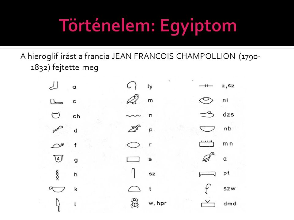 A hieroglif írást a francia JEAN FRANCOIS CHAMPOLLION (1790- 1832) fejtette meg