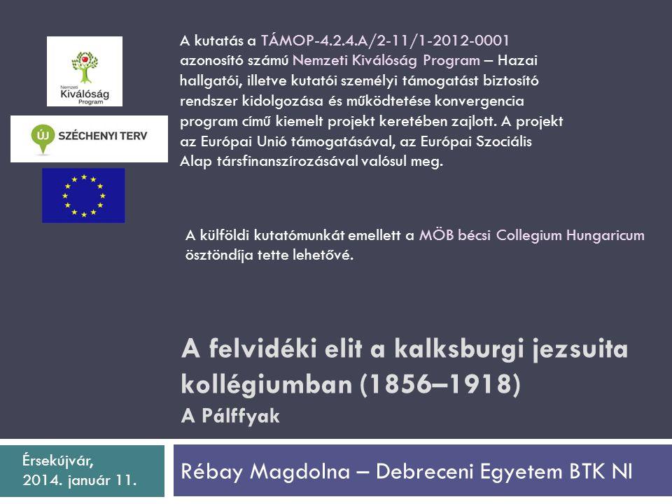 A felvidéki elit a kalksburgi jezsuita kollégiumban (1856–1918) A Pálffyak Rébay Magdolna – Debreceni Egyetem BTK NI A kutatás a TÁMOP-4.2.4.A/2-11/1-2012-0001 azonosító számú Nemzeti Kiválóság Program – Hazai hallgatói, illetve kutatói személyi támogatást biztosító rendszer kidolgozása és működtetése konvergencia program című kiemelt projekt keretében zajlott.