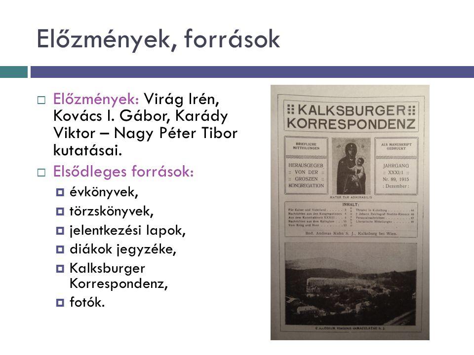 Előzmények, források  Előzmények: Virág Irén, Kovács I.