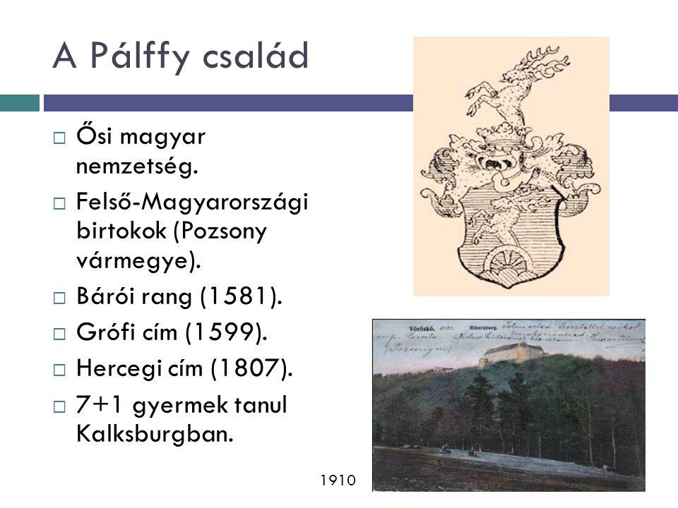 A Pálffy család  Ősi magyar nemzetség. Felső-Magyarországi birtokok (Pozsony vármegye).
