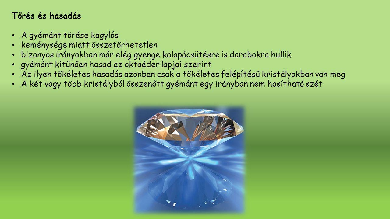 Optikai tulajdonságok Kristálytani felépítésének megfelelőleg a gyémánt egyszerűen fénytörő egyes gyémántokban rendellenes kettőstörés is megfigyelhető, amit a folyadékzárványok okoznak A gyémánt törésmutatója igen nagy A gyémánt fénye magas törésmutatója miatt nagyon erős