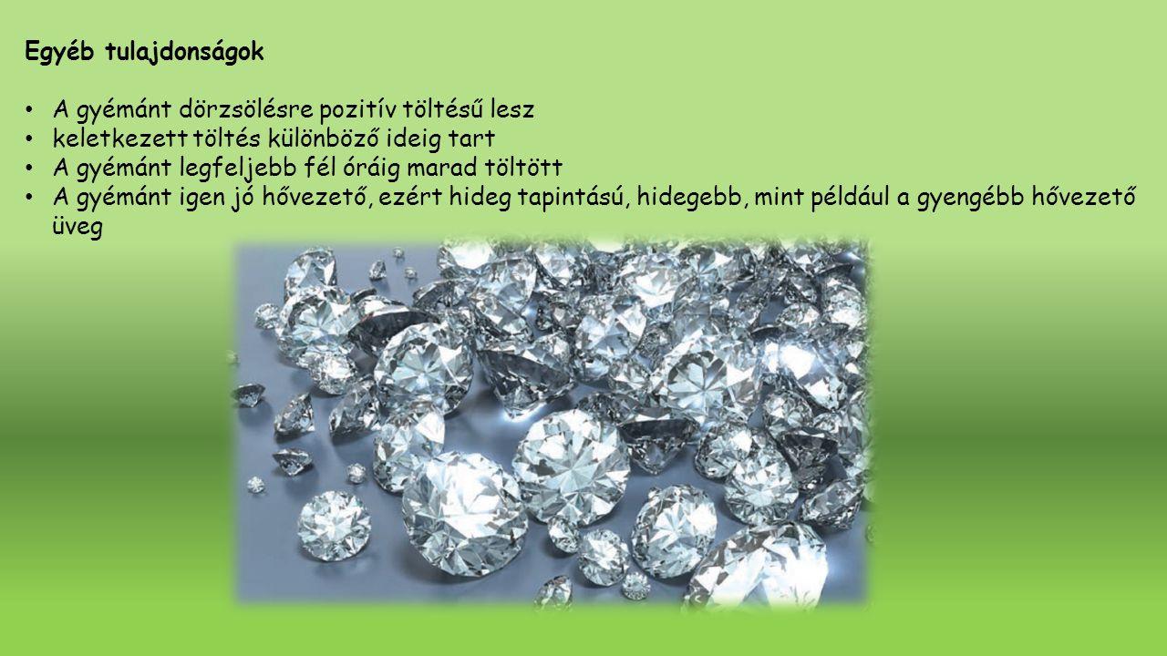 Egyéb tulajdonságok A gyémánt dörzsölésre pozitív töltésű lesz keletkezett töltés különböző ideig tart A gyémánt legfeljebb fél óráig marad töltött A