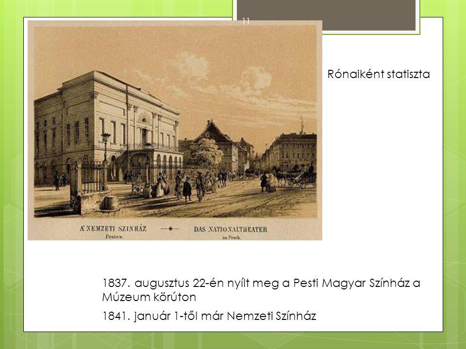 1837. augusztus 22-én nyílt meg a Pesti Magyar Színház a Múzeum körúton 1841. január 1-től már Nemzeti Színház Rónaiként statiszta 11