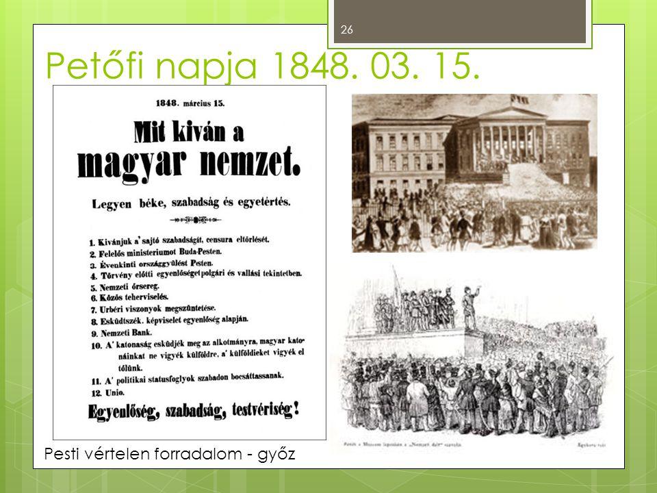 Pesti vértelen forradalom - győz Petőfi napja 1848. 03. 15. 26