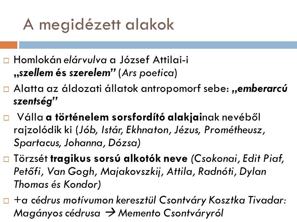"""A megidézett alakok  Homlokán elárvulva a József Attilai-i """"szellem és szerelem"""" (Ars poetica)  Alatta az áldozati állatok antropomorf sebe: """"embera"""