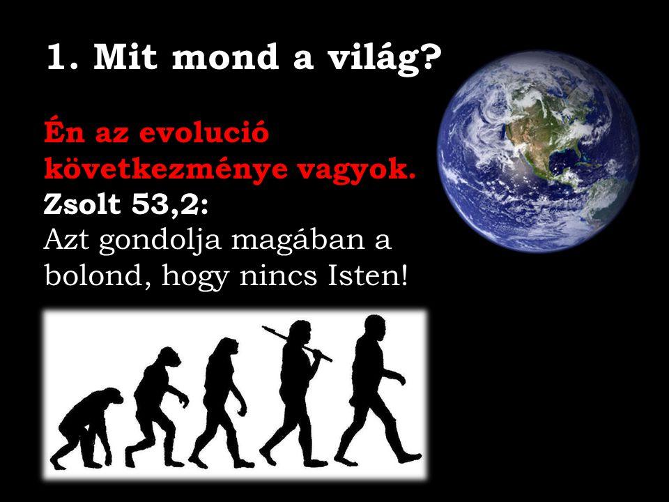1. Mit mond a világ? Én az evolució következménye vagyok. Zsolt 53,2: Azt gondolja magában a bolond, hogy nincs Isten!