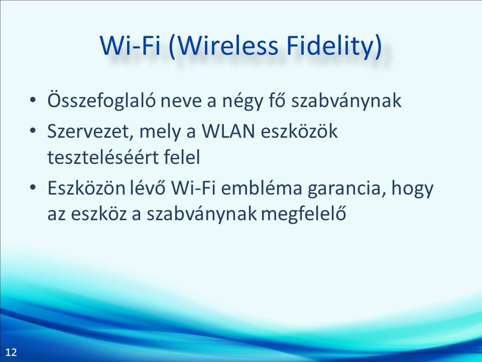12 Wi-Fi (Wireless Fidelity) Összefoglaló neve a négy fő szabványnak Szervezet, mely a WLAN eszközök teszteléséért felel Eszközön lévő Wi-Fi embléma g