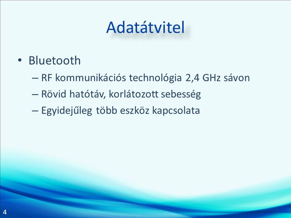 4 Adatátvitel Bluetooth – RF kommunikációs technológia 2,4 GHz sávon – Rövid hatótáv, korlátozott sebesség – Egyidejűleg több eszköz kapcsolata