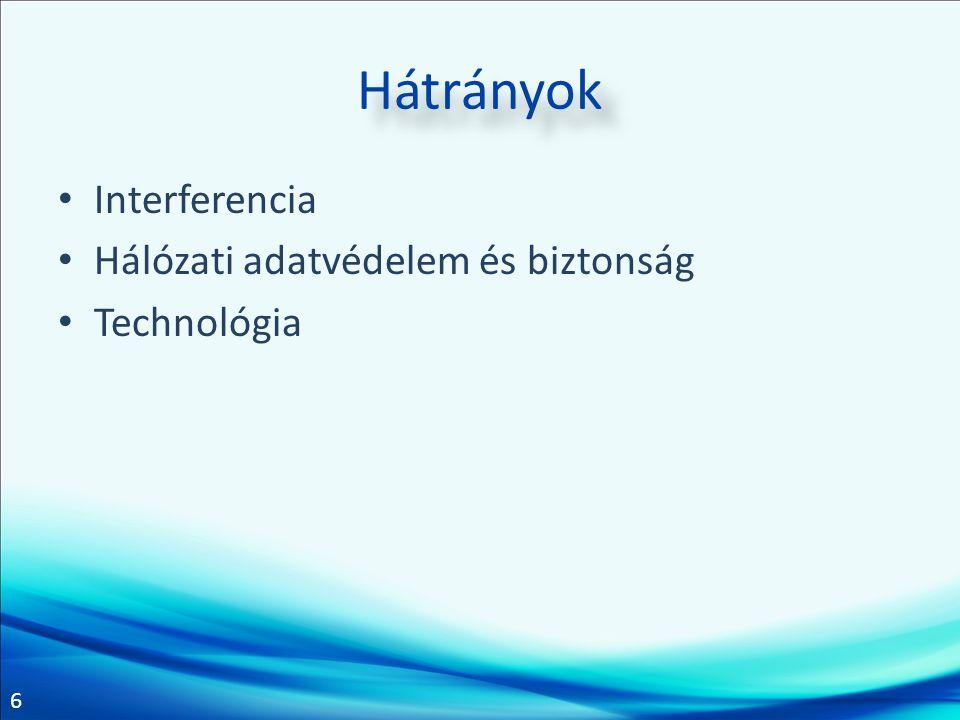 6 Hátrányok Interferencia Hálózati adatvédelem és biztonság Technológia