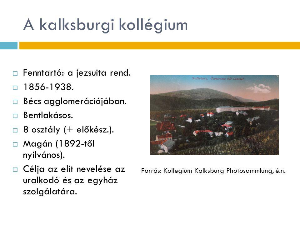 A kalksburgi kollégium  Fenntartó: a jezsuita rend.  1856-1938.  Bécs agglomerációjában.  Bentlakásos.  8 osztály (+ előkész.).  Magán (1892-től