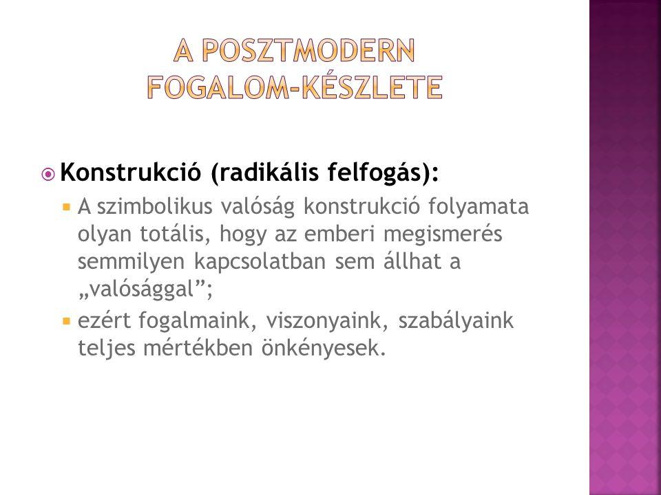  Konstrukció (radikális felfogás):  A szimbolikus valóság konstrukció folyamata olyan totális, hogy az emberi megismerés semmilyen kapcsolatban sem