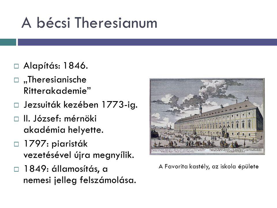 """A bécsi Theresianum  Alapítás: 1846.  """"Theresianische Ritterakademie""""  Jezsuiták kezében 1773-ig.  II. József: mérnöki akadémia helyette.  1797:"""