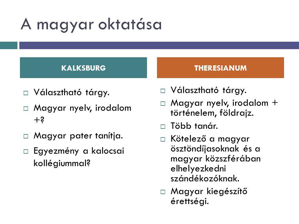 A magyar oktatása  Választható tárgy.  Magyar nyelv, irodalom +?  Magyar pater tanítja.  Egyezmény a kalocsai kollégiummal?  Választható tárgy. 