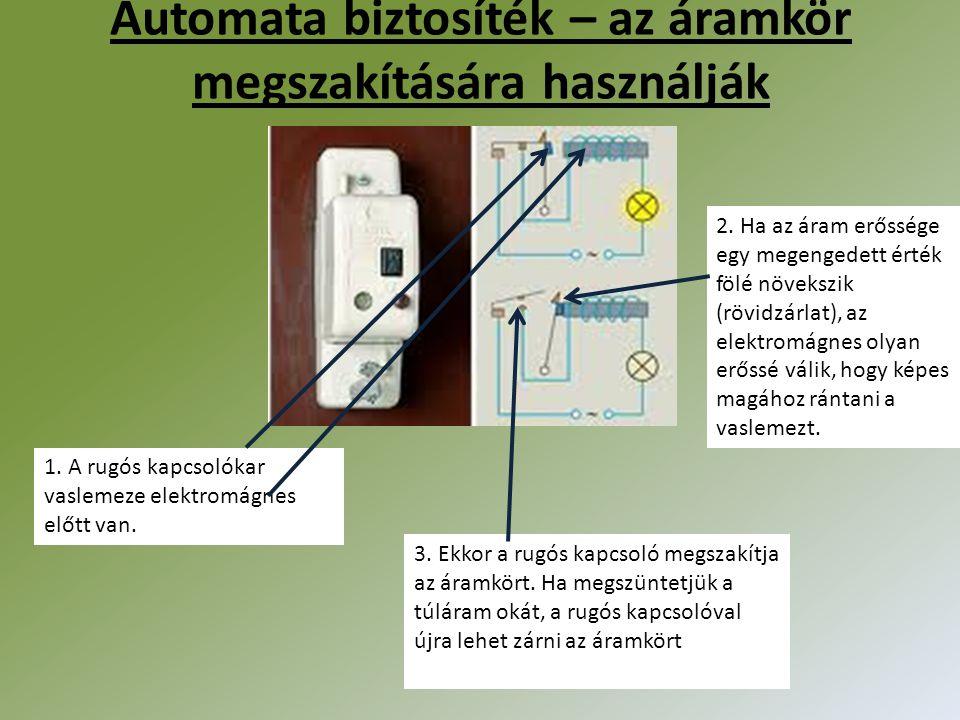 Automata biztosíték – az áramkör megszakítására használják 1. A rugós kapcsolókar vaslemeze elektromágnes előtt van. 2. Ha az áram erőssége egy megeng