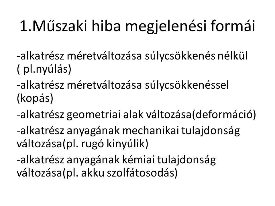 1.Műszaki hiba megjelenési formái -alkatrész méretváltozása súlycsökkenés nélkül ( pl.nyúlás) -alkatrész méretváltozása súlycsökkenéssel (kopás) -alkatrész geometriai alak változása(deformáció) -alkatrész anyagának mechanikai tulajdonság változása(pl.