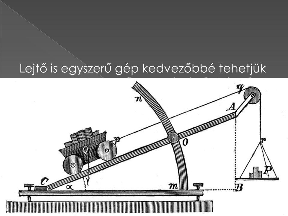 Lejtő is egyszerű gép kedvezőbbé tehetjük testre kifejtett erő nagyságát és irányát