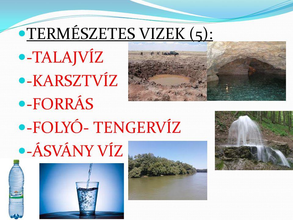 TERMÉSZETES VIZEK (5): -TALAJVÍZ -KARSZTVÍZ -FORRÁS -FOLYÓ- TENGERVÍZ -ÁSVÁNY VÍZ