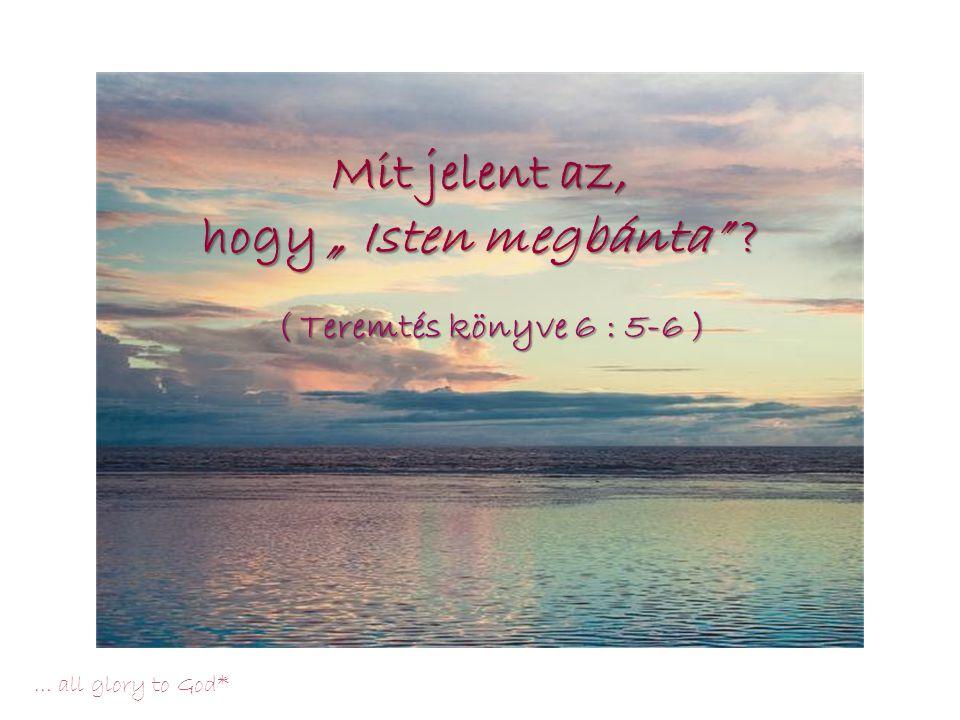 """…all glory to God* Teremtés könyve 6, 5-8 """"Amikor látta az Úr, hogy az emberi gonoszság mennyire elhatalmasodott a földön, és hogy az ember szívének minden szándéka és gondolata szüntelenül csak gonosz, megbánta az Úr, hogy embert alkotott a földön, és megszomorodott szívében."""