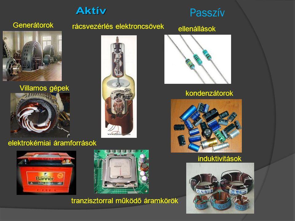 kondenzátorok Generátorok Villamos gépek elektrokémiai áramforrások rácsvezérlés elektroncsövek tranzisztorral működő áramkörök ellenállások induktivi