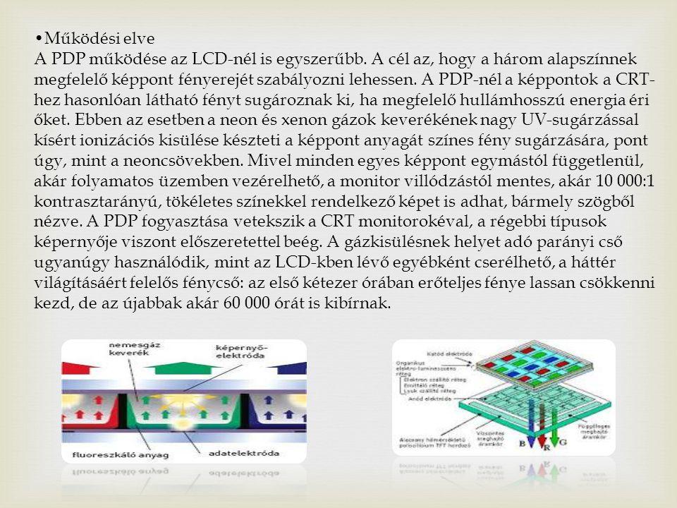 Működési elve A PDP működése az LCD-nél is egyszerűbb.