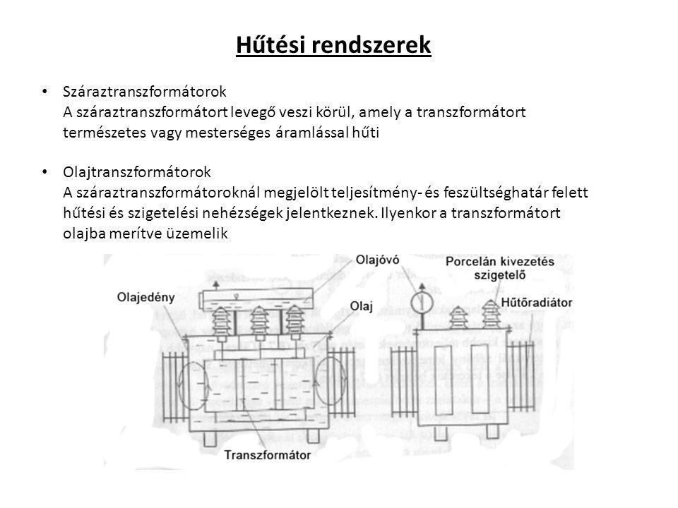 Hűtési rendszerek Száraztranszformátorok A száraztranszformátort levegő veszi körül, amely a transzformátort természetes vagy mesterséges áramlással h
