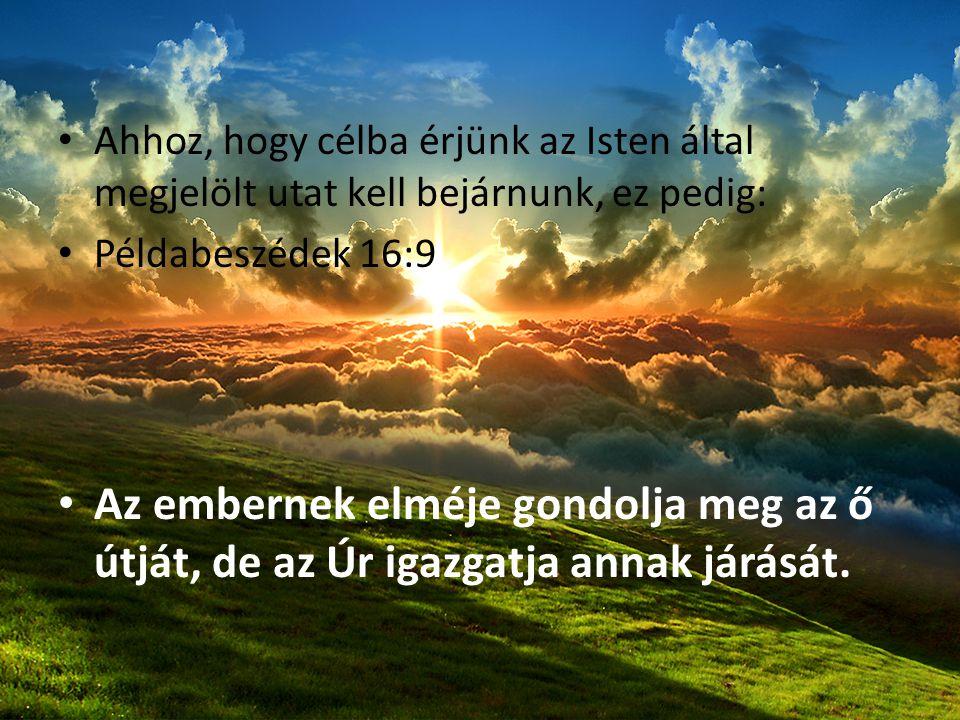 Ahhoz, hogy célba érjünk az Isten által megjelölt utat kell bejárnunk, ez pedig: Példabeszédek 16:9 Az embernek elméje gondolja meg az ő útját, de az